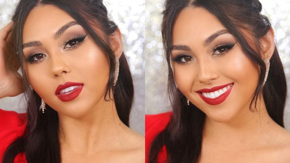 Maquillaje elegante para vestido rojo