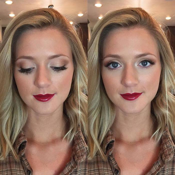 Maquillaje natural para vestido rojo