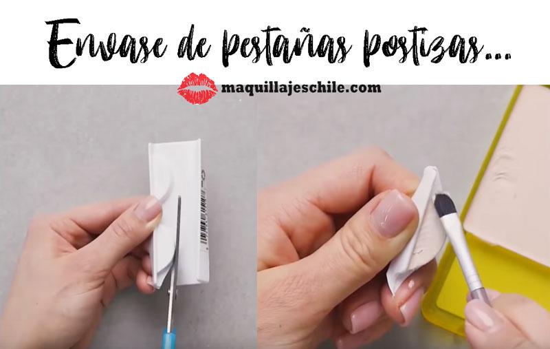 Envase de pestañas postizas para aplicar base de sombras de ojos